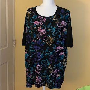 EUC Black and Floral Lularoe Irma Top
